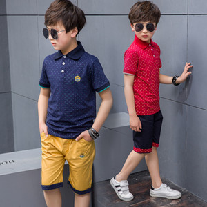 New 2019 Children's Kids Boys Summer Clothing Sets T Shirt And Shorts Sports Tracksuit For Boys Set 4 6 8 9 10 12 Years Old T191006 on Sale