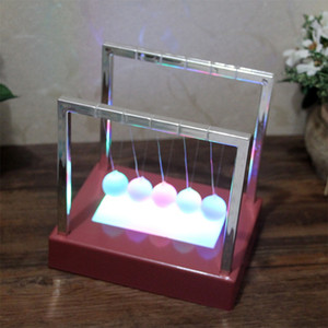 Wholesale newtons cradle for sale - Group buy Desk Decor Toys inch Newtons Balance Ball LED Pendulum Early Educational Cradle Balance Colorful Balls BH1091 TQQ