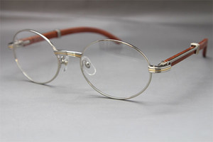 Wholesale 7550178 Wood Eyeglasses designer Glasses frame women Hot with box Frames vintage Glasses Unisex Hot Size:55-22-135mm Silver