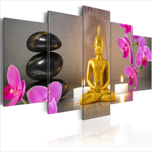 Wholesale golden canvas art set resale online - No Frame Set HD Modern Canvas Golden Buddha Wall Decor Buddhism Art Oil Painting Print on Canvas Home Decor Canvas Painting Picture