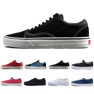 Wholesale Cheap Old skool Canvas mens casual shoes black white blue red Classic fashion men women trainers sports sneakers Skate shoe