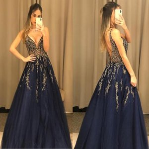 Wholesale 2019 sexy Evening Dresses with shinny beaded lace appliques evening gowns chic long Prom Dresses Illusion bodice backless Abendkleider