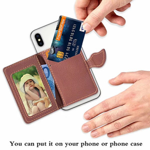 Wholesale New Arrival Universal Leather Back Sticker Cover Case Card Holder Wallet Slots With Leaf Flip Case for Cell Phone
