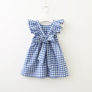 Wholesale 2019 Summer Hotsale Dress for baby girl Plaid Backless Ruffle Sleeve Back bowknot Cross Cotton Pink Blue Girl Gift Boutique