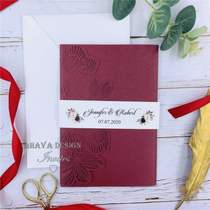 Gorgeous Shimmery Burgundy Laser Cut Wedding Invitations, Belly Band With Monogram, Customized Insert And RSVP Card