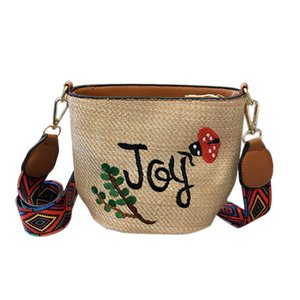 Wholesale FGGS Embroidery Straw Bag Hand Weave Small Bags Summer Crossbody Mini Bags Cute Shoulder for Women