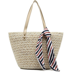 Wholesale Straw Tote Handbags For Women Beach Bags Woven Straw Purses Shoulder Bags For Girls Summer Outfits White