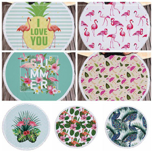 Wholesale rounds rugs for sale - Group buy 7 Styles cm Flamingo Printed Round Tassel Beach Towel Women Shawl Tablecloth Picnic Rugs Yoga Mat Round Beach Towel CCA9696