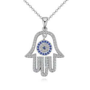 Wholesale blue zircon pendants for sale - Group buy Palm Blue Eyed Pendant Necklace Evil Eyes for Women CZ Zircon Copper Necklaces European and American Statement Jewelry Gift