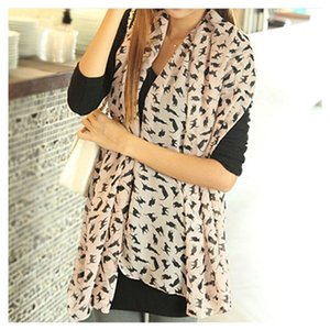 Wholesale Fashion Women Chiffon Colorful Printed Sweet Cartoon Cat Kitten Scarf Graffiti Style Shawl Girls Korean Silk Scarves