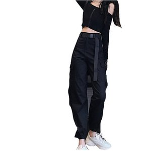 Wholesale 2019 latest fashion style cargo pants women s casual wear jogger black high waist loose belt women s pants Korean style women s pants