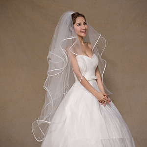 In Stock Gather 80CM Long Bridal Veils Two Layer Tulle Wedding Veils White Ivory Womens Wedding Accessories Voile Mariage