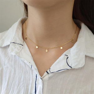 Wholesale 925 Sterling Silver String Small Wafer Gold Color Necklace Simple Fashion Design Mini Clavicular Chain For Women Fine Jewelry