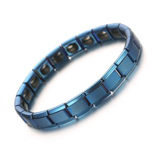 Black Blue Color Stainless Steel Elastic Tourmaline Energy Chains Link Bracelet Health Care Jewelry For Women Men Germanium Power Bracelets