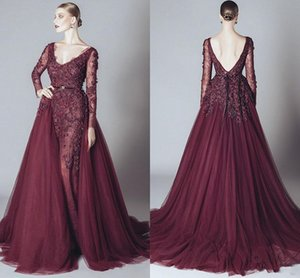 2019 Vintage Mermaid Prom Evening Dress Maroon Lace Appliqued Long Sleeve Datachable Train V Neck Formal Party Pageant Dresses Custom Made on Sale