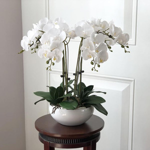 Wholesale 1 Set High Grade Orchids Hand Feeling Flower Table Flower Arrangement No Vase Artificial Flower Home Office Decoration