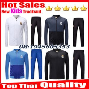 Wholesale Kids Tracksuit kits training suit jacket real madrid SOCCER JERSEY children BALE KROOS RAMOS MODRIC ISCO Survetement football kits
