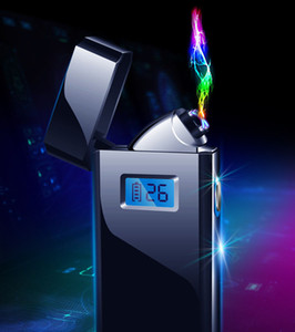 Plasma arc Lighter Double arcs Electric USB Rechargeable metal windproof cigarette Lighter power digital display gold silver blue A61831