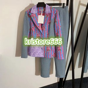 Women Fashion Luxury Designer Houndstooth Print Two Piece Pants Tops Print Blazer Jacket+Plaid Print Trouser Pants Female Runway Sets Suit