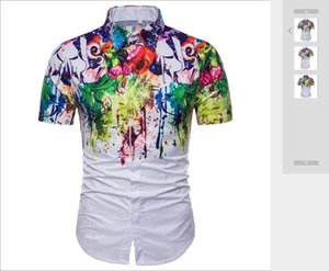 Wholesale New Men s Personality Fashion Blossom Sprinkled Paint D Printed Turn collar Short sleeved Shirt for European and American Foreign Trade in