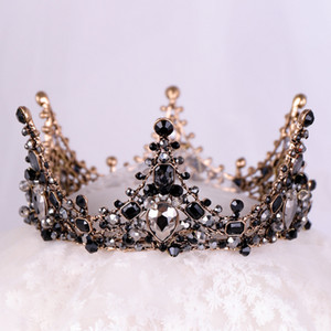 Wholesale Baroque Wedding Bridal Hair Accessories Black Full Round Circle Tiara And Crown Crystal Rhinestone Birthday Diadem Hair Jewelry C19022201