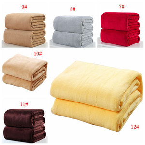Wholesale twins beds resale online - Warm Flannel Fleece Blankets Soft Solid Colors Blankets Solid Bedspread Plush Winter Summer Throw Blanket For Bed Sofa Colors DBC BH3258