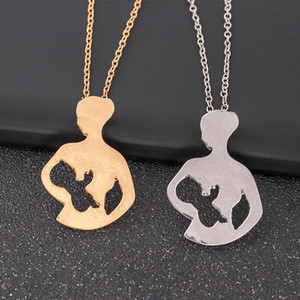Wholesale Necklace Breastfeeding Mother Baby Pendant Necklace Creative Mother s Day Gift Color Silver Gold Chain Necklaces