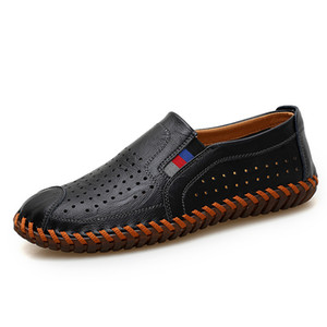 Wholesale Genuine Leather Shoes Men Casual Slip on Man Fashion Walking Shoes High Quality Male Luxury Loafers Orange Brown Plus Size