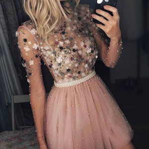 Pink Tulle Mini Short Homecoming Dresses dubai kaftan abaya Long Sleeve Sort Prom Dress Gown Party Cocktail Dresses With Beads Cheap 2019