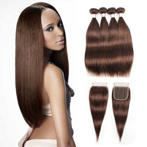 #4 Chocolate Brown Human Hair Bundles With Closure Brazilian Straight Hair 3 4 Bundles with 4*4 Lace Closure Remy Human Hair extensions