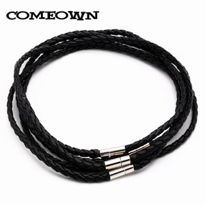 Wholesale COMEOWN quot quot mm Black Braided PU Leather Cord String Choker Necklace For Women DIY Jewelry Necklace
