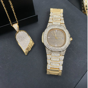 Wholesale Luxury Gold hip hop jewelry stylish watch Necklace Combo Set Watch Diamond Men Iced Out Pendant w  Franco Chain