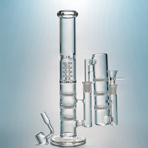 Triple Perc Glass Bong Straight Tube Birdcage Perc Water Pipes Big Bongs 18mm Joint Oil Dab Rigs With Ash Catcher Quartz Banger Bowl