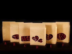 Wholesale 500 pieces batch new cm biscuit nut gift bags upright kraft paper box heart shaped transparent window bag