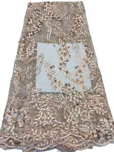 Wholesale Golden embroidery french lace fabric yards per nigerian african lace fabric