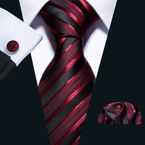 Fast Shipping Ties Mens 100% Silk Designers Fashion Black Red Stripes Tie Hanky Cufflinks Sets for Mens Formal Wedding Party Groom N-5022