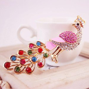 Wholesale Fashion Colorful Rhinestone Crystal Alloy Peacock Keychain Ladies Bag Accessories Key Chain Pendant