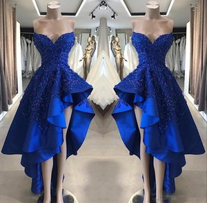2020 Royal Blue Evening Dresses High Low Lace Satin Beaded Prom Dresses With Ruffles Backless Party Gowns on Sale
