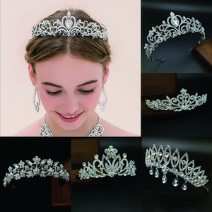Wholesale jewelry heads for sale - Group buy 12pcs Tiaras and Crowns Wedding Hair Accessories Glitter Rhinestone Head Ornaments Headband Simulated Jewelry Decorative Headpieces