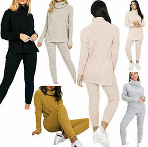 2017 2018 new the best more Women Chunky Knit 2Pcs Loungewear Tracksuit Ladies Polo High Neck Top Leggings