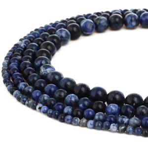 Wholesale Natural Stone Dark Blue Sodalite Beads Round Gemstone Loose Beads for DIY Bracelet Jewelry Making Strand Inches MM