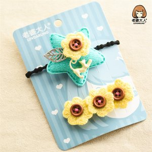 Wholesale 4pcs New Korean Personality Headdress Star Button Flower Small Fresh Hairpin Hairring Hair Accessories