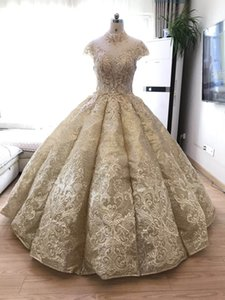Wholesale Real Work Prom Dress Gold Lace Necklace High Neck And Gold Sequins Party Girl Evening Prom Dress Puffy Ball Gown Waves Arch Skirt Prom Gown