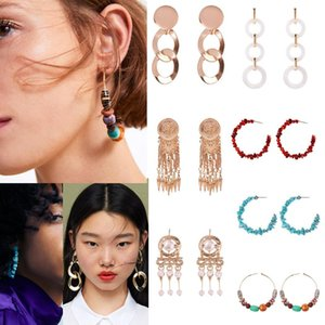 Wholesale Women Exaggerated Turquoise Vintage Style New Type Geometric Casual Earrings Hook g Red Blue Gold