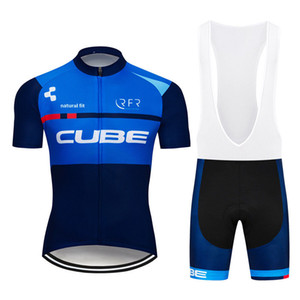 Wholesale Factory direct sale Men Cycling Jersey Set Ropa De Ciclismo Summer CUBE Short Sleeve Mountain Bike Clothing Sports Uniformes Suit Y011103