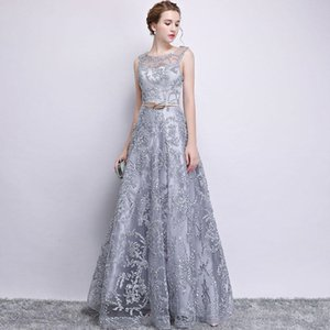 Wholesale 2019 New Evening Dress Elegant Banquet Champagne Lace Sleeveless Floor-length Long Party Formal Gown plus size Robe De Soiree