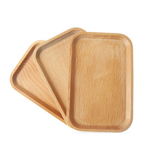 Wholesale Wooden Plate Dish Square Fruits Platter Dish Dessert Biscuits Plate Dish Tea Server Tray Wood Cup Holder Bowl Pad Tableware Mat VF1574