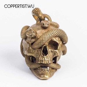 Wholesale COPPERTIST WU Original Design Skull Snake Keychain Solid Brass Necklace Pendant Car Key Chain Punk Rock Metal Skeleton Key Ring