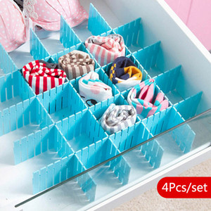 Wholesale 4Pcs Set Drawer Organizer Divider Adjustable Drawer Storage Clapboard Household Storage Grid Drawers For Closet Makeup Socks Underwear