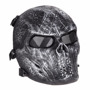 Wholesale army airsoft paintball mask resale online - Airsoft Paintball Party Mask Skull Full Face Mask Army Games Outdoor Metal Mesh Eye Shield Costume for Halloween Party Supplies